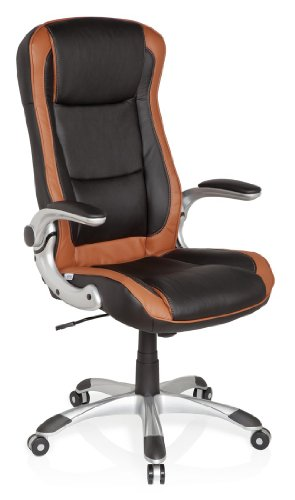 HJH Office 621770 Racer Compact - Silla de oficina, color marrón y negro