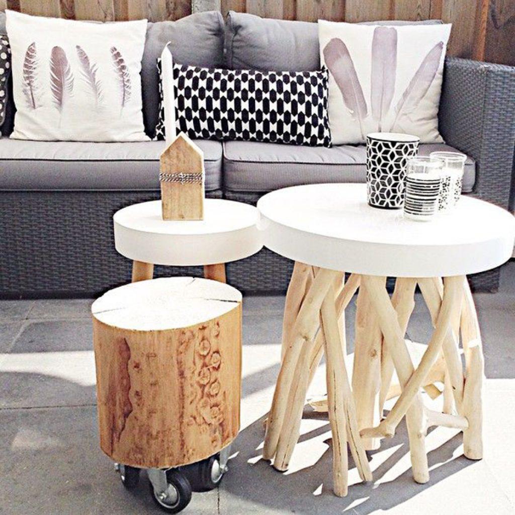 Mesa de tronco para decorar